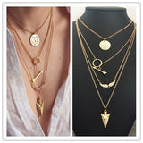 New Fashion accessories jewelry arrow multi layer necklace gold color gift for women girl