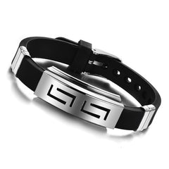 New Fashion jewelry Silicone Rubber Silver Slippy Hollow Strip Grain Stainless Steel Men Bracelet Bangle