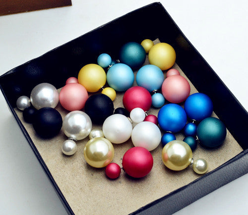 New Fashion jewelry double side matte 16MM pearl stud gift for women girl mix color