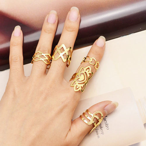 New Fashion jewelry flower hollow finger ring set nice gift for women girl lovers' gift mix design 1set=5pcs