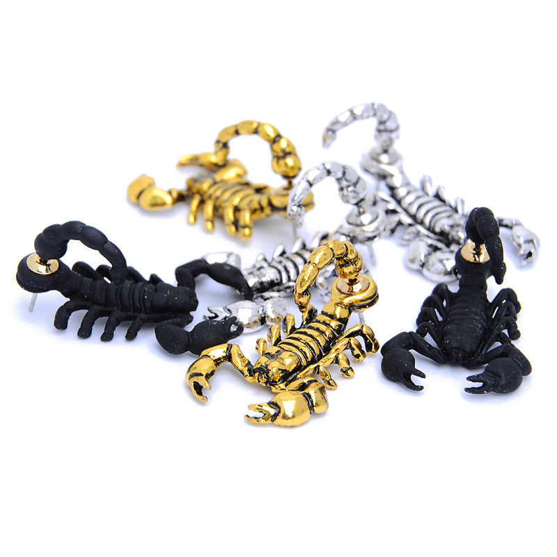 New Gothic Punk Exaggerated 3D Scorpion Cuff Earring for Women Men Stereo Retro Black Gold Plated Animal Stud Earrings