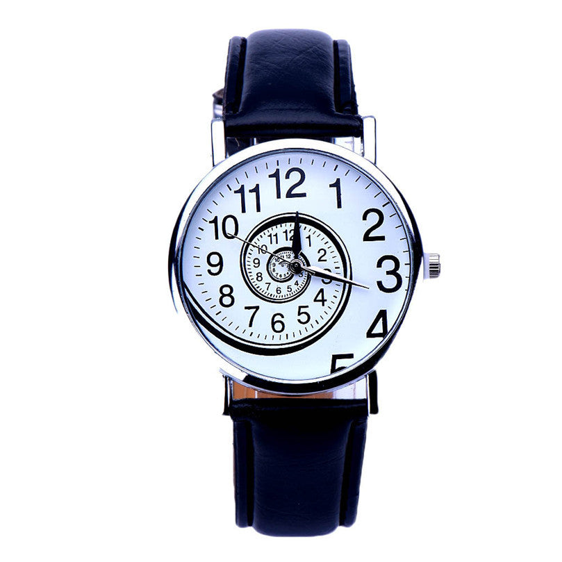 New Hot Sanwony Women Swirl Pattern Leather Analog Quartz Wrist Watch