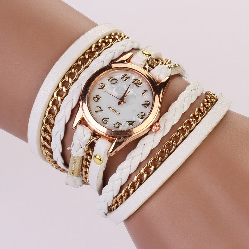 New Hot Women Dress Watches High-Quality Women's Punk Retro Leather Strap Bracelet Laminated Quartz Watch