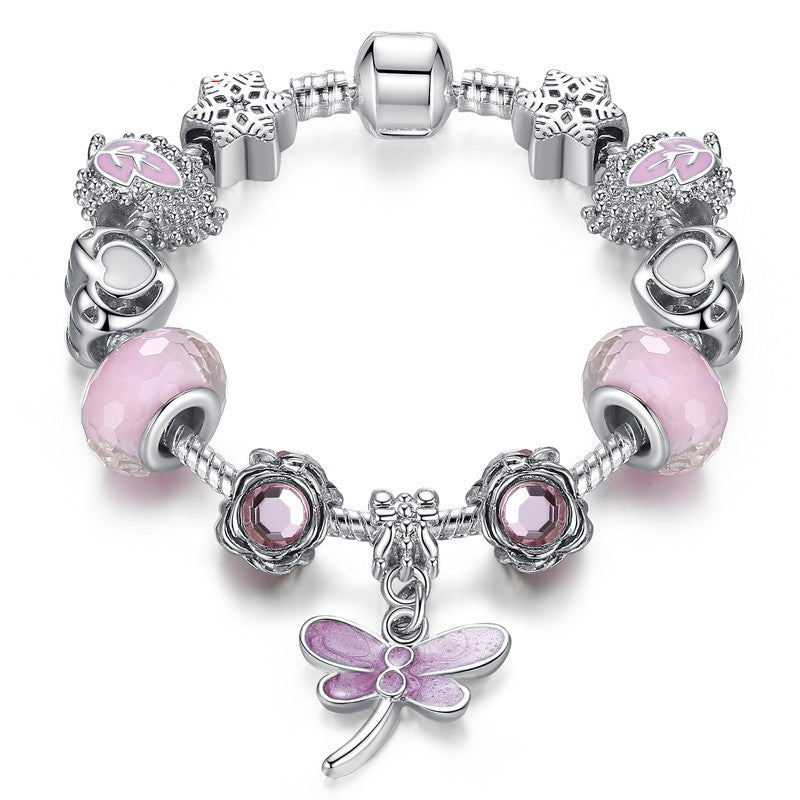 New Lovely Gift Murano Glass Beads Butterfly Charm Bracelet Fit Original Bracelets Beads Jewelry For Women Girls