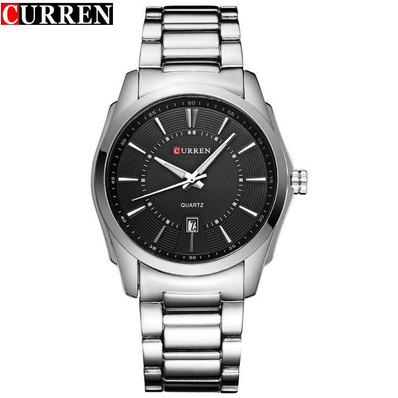 New Luxury Brand CURREN Casual Watches Men Quartz Watch Silver Full Steel Black Dial Waterproof Men's Sport Wristwatches