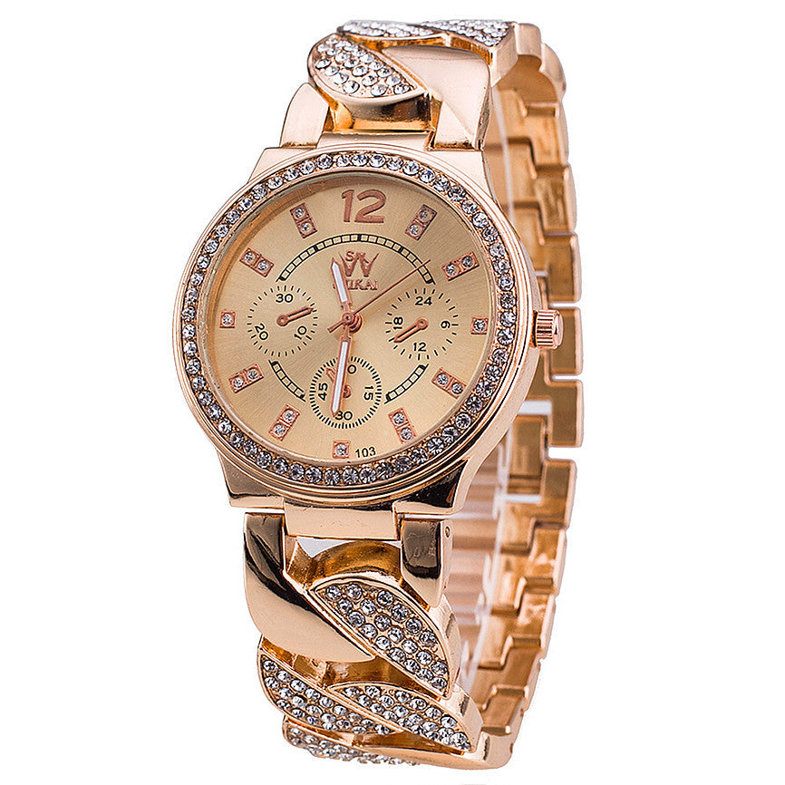 New Luxury Women Watches Stainless Steel Band Rose Gold Watch Fashion Women Quartz Watch Relogio Feminino
