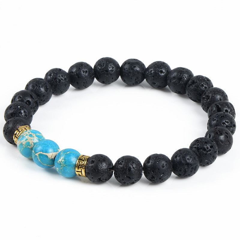 Natural Stone Bracelet & Bangle With Lava Rock Bracelet Of Stretch Buddha & Yoga Bracelet Women Men
