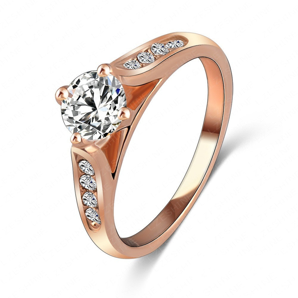 New Ring 18K Rose Gold/Platinum Plate Inlay Austrian Crystals Women Rings