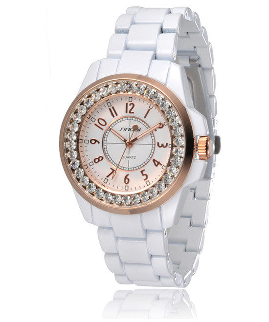New SINOBI Bling Diamonds Rhinestone Luxury Ceramic-White Style Ladies Dress Watch Women Fashion Wristwatch Gifts