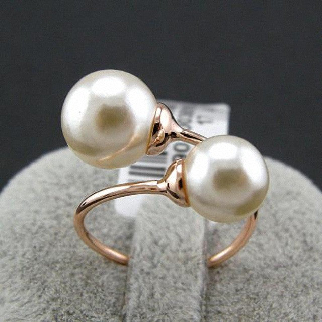 New Sale Real Italina Rings for women Rose gold Plated simulated pearl Rings Fashion Anti Allergies Rose Gold