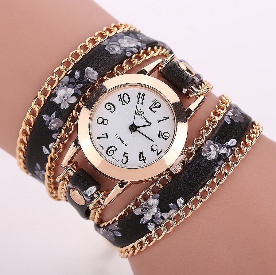New Style Women Geneva Watch Leather Luxury Bracelet Wristwatch Dress Watches Women Quartz Watches Fashion Casual Watch
