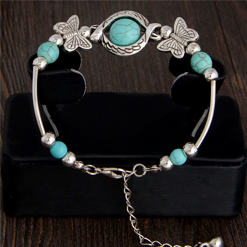 New Tibetan Silver Color Turquoise Bracelets & Bangles Inlay Butterfly Bead Nation Bohemian Bracelets For Women Fine Jewelry