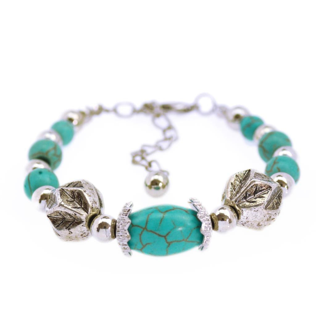 Tibetan Silver Color Turquoise Bracelets & Bangles Inlay Roundness Bead Nation Bohemian Bracelets For Women Fine Jewelry