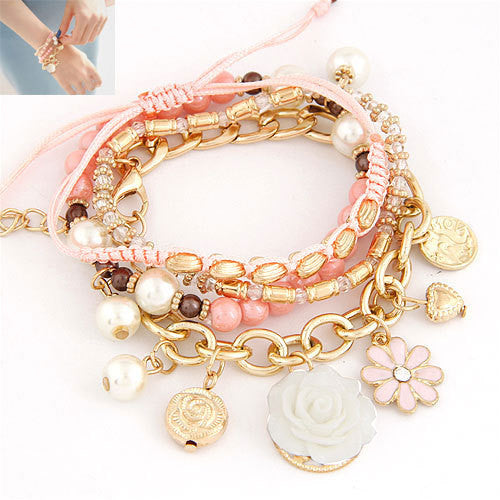 New Vintage Design Women Bangles Fashion Simple Rose Flower Pearl Bead Crystal Charms Multielement Bracelet Fine Jewelry