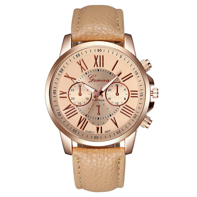 Fashion Women Dress Watches Roman Numeral Dial Leather Quartz Wristwatch Men Casual Geneva Watch
