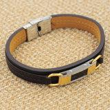New arrival popular jewelry PU leather mix stainless steel Bracelets Men Wholesale charm male fashion accessories Bangles