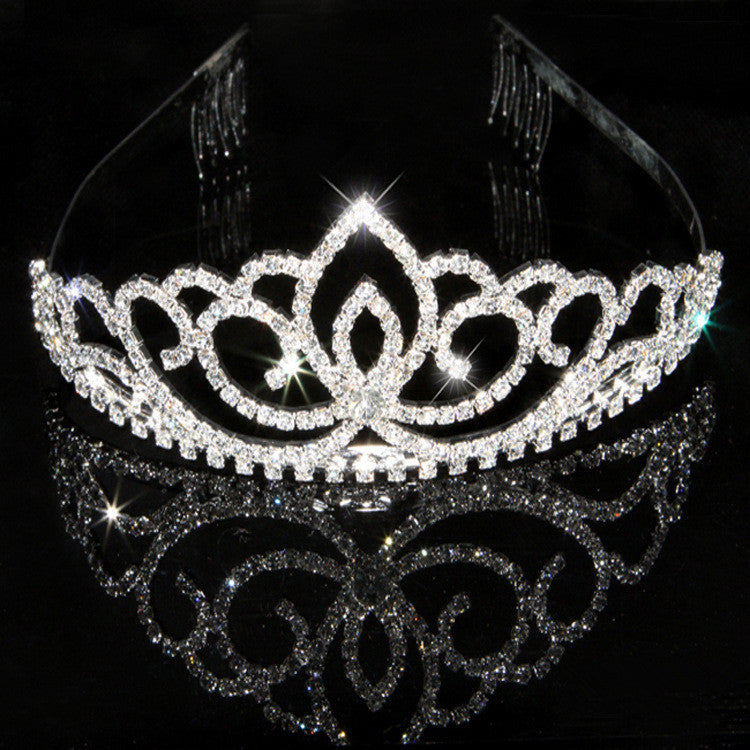 New design Romatic crown tiara elegant peach heart rhinestone crystal hair jewelry luxury bride wedding party