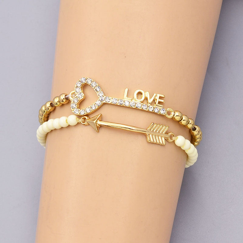 New fashion accessories jewelry bead chain link key love arrow charm bracelet nice gift for women girl