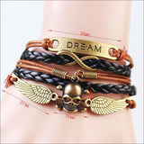 Handmade Fashion Skull & Win Dream Charms infinity Bracelet Brown &Black woven leather punk Braclet