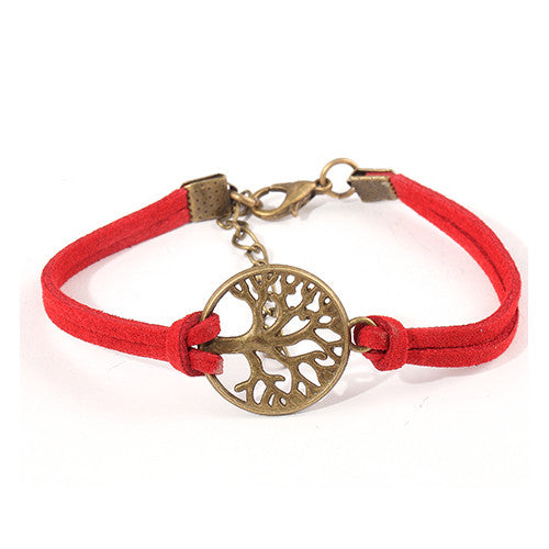 New hot sale 100% Fashion Vintage hand-woven Rope Chain Leather Bracelet Metal tree charm bracelets jewelry for women