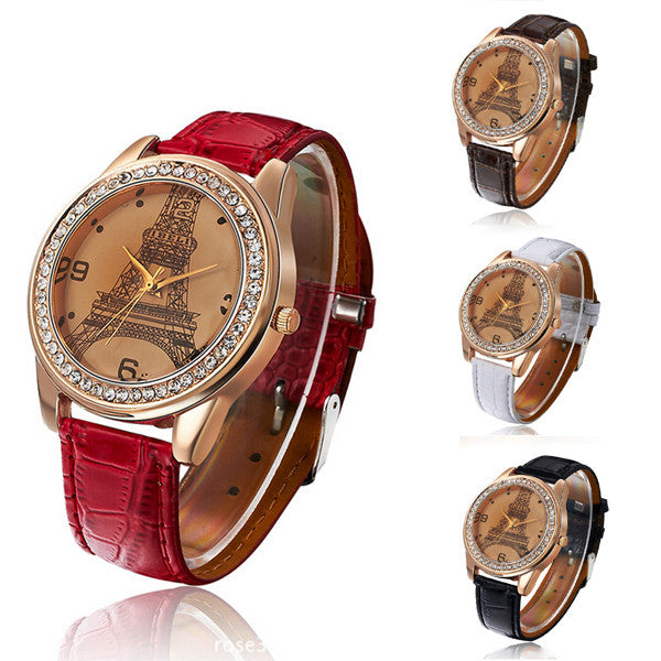 Women Girl's Eiffel Tower Analog Quartz Wrist Watch Watches