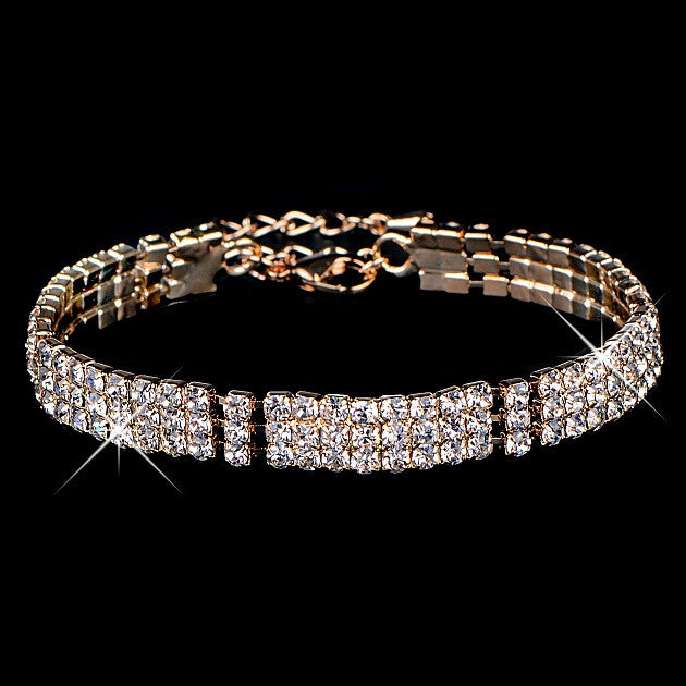 New hot sell gold / silver plated Austrian crystal brand jewelry Multi-chain rhinestone bracelet women wedding Jewellry