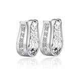 New 18K Gold Plated CZ Zirconia Hoop Earrings For Women Bijoux CC Earings