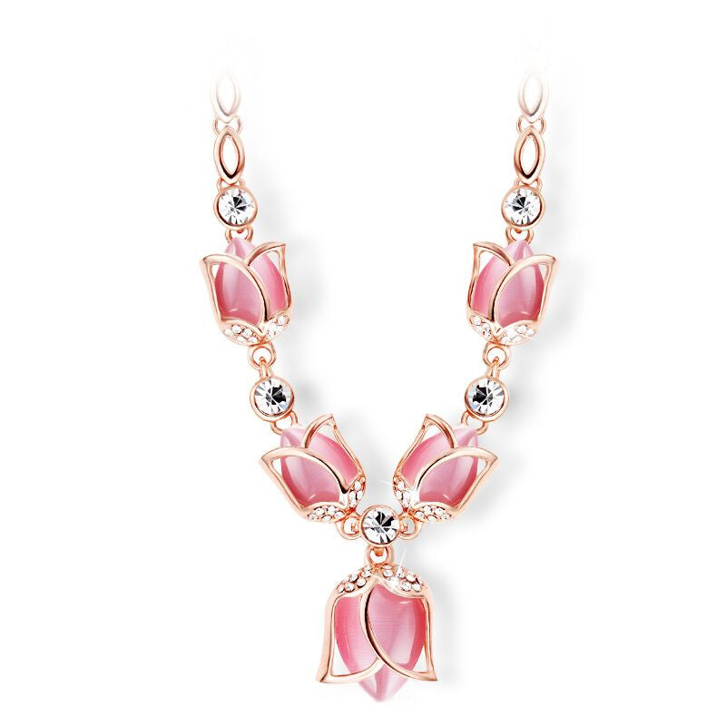 New 2016 Chokers Necklaces Romantic Rose Gold Plated White Pink Beige Created Opal Rhinestone Tulips Necklace For Women Jewelry