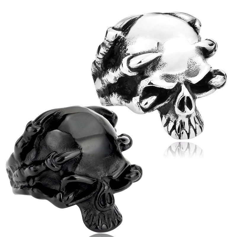 New 316L Stainless Steel Jewelry Men's Gothic Punk Claw Thingking Skull Skeleton Rings