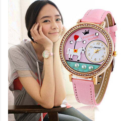 New Amtun Mini Korean Clay Women Dress Watch Cartoon Rhinestones Cute Leather Girls Wristwatch