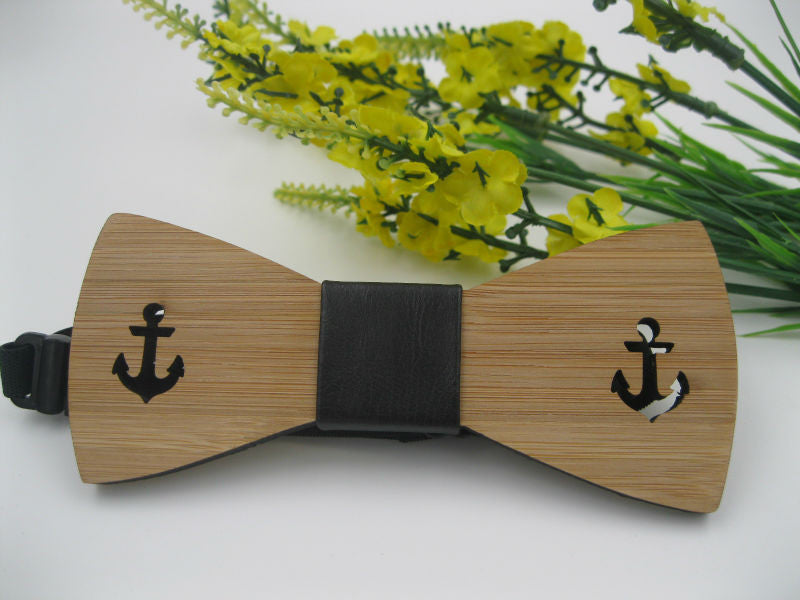 New Anchor Wooden Bow Tie For Man Accessory Bamboo Wood Wth Engraved Anchor