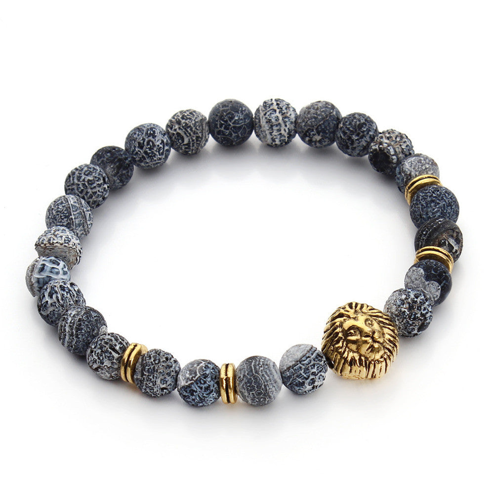 New Antique Silver/Gold Plated Buddha Leo Lion Head Bracelet Men 8mm Natural Agate Beads Bracelets Pulseras Hombre