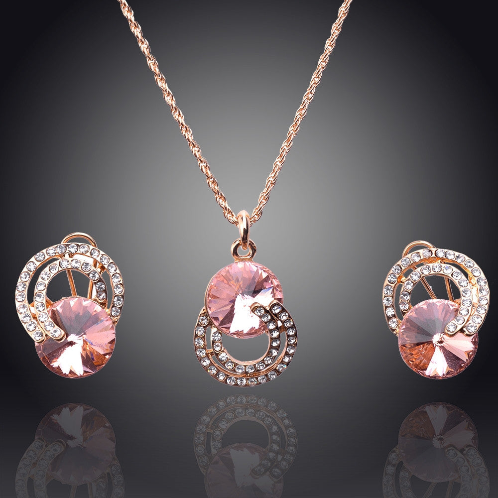 New Arrival 18K Gold Plated Necklace/Earrings Wedding Jewelry Sets For Brides Fashion Jewelry