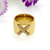 New Arrival 18K Gold Plated Ring Bijoux 14mm Width Big Pave Setting CZ Cross X Ring For Women Trendy Fine Jewelry