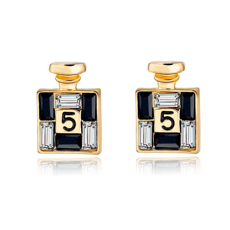 New Arrival Bijoux Gold Channel Earrings For Women Crystal Stud Earings Famous Brand Jewelry Brincos