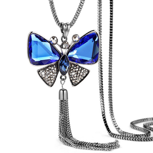 Butterfly Necklace Trendy Zinc Alloy Rhinestone Crystal Necklace Long Chain Pendant Necklaces For Women Jewelry