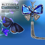 New Arrival Butterfly Necklace Trendy Zinc Alloy Rhinestone Crystal Necklace Long Chain Pendant Necklaces For Women Jewelry