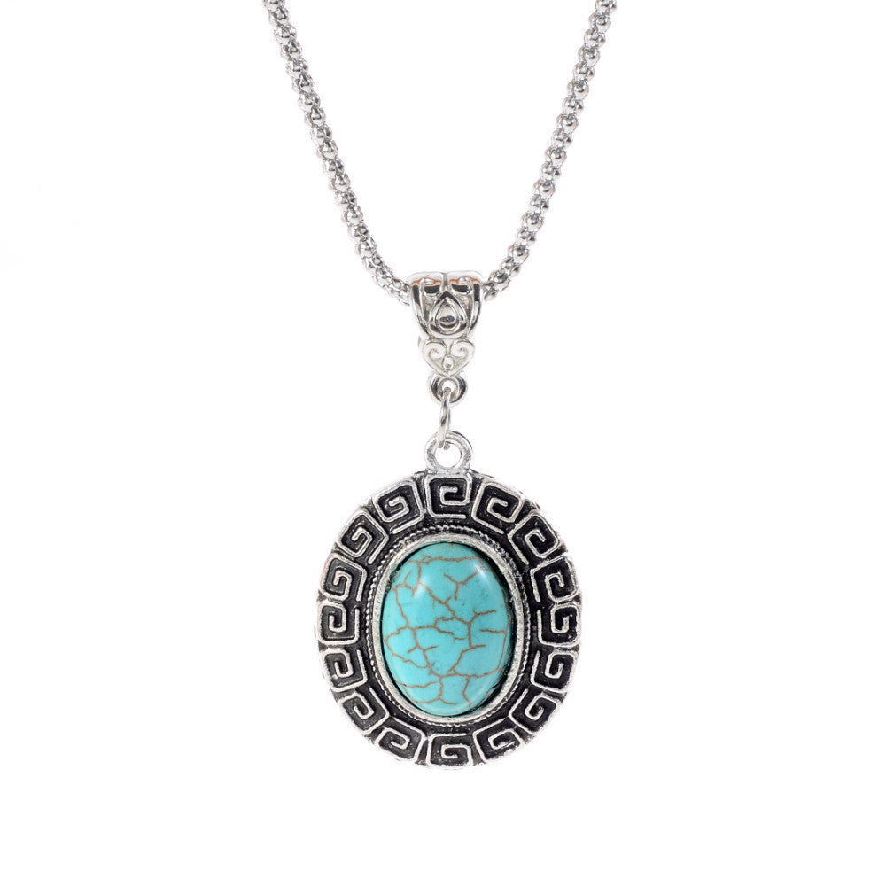 New Arrival Fashion Green Turquoise Tibetant Silver crystal rhinestone blue Pendant Necklace jewelry for Women