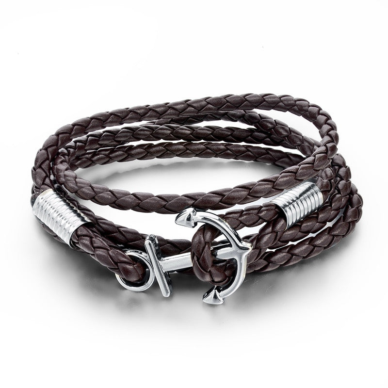 New Arrival Fashion Jewelry PU Leather Bracelet Men Anchor Bracelets For Women Best Friend Gift Pulsera