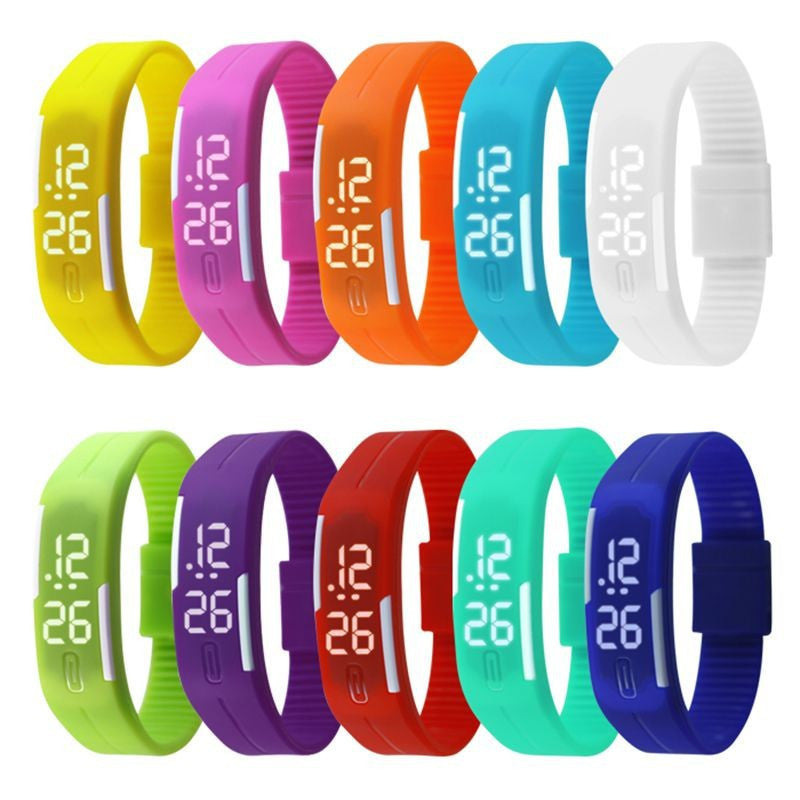 New Arrival! Fashion Sport LED Watches Candy Color Silicone Rubber Touch Screen Digital Watches Waterproof Bracelet Wristwatch