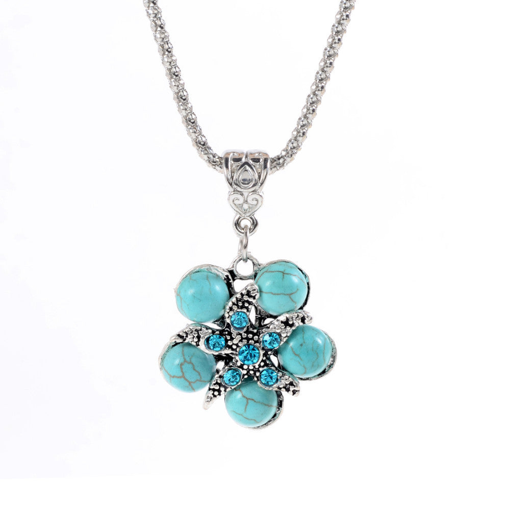 New Arrival Fashion rhinestone blue flower Pendant Tibetant Silver vintage Necklace jewelry for Women