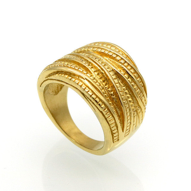 New Arrival Female Luxury Genuine Stainless Steel Jewelry Real 18k Gold Plated Multilayer Wedding Rings For Women