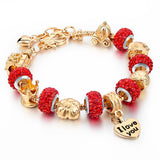 New Arrival Gold Charm Bracelets For Women Snake Chain Heart Bracelets Bangles DIY Crystal Jewelry Pulseras