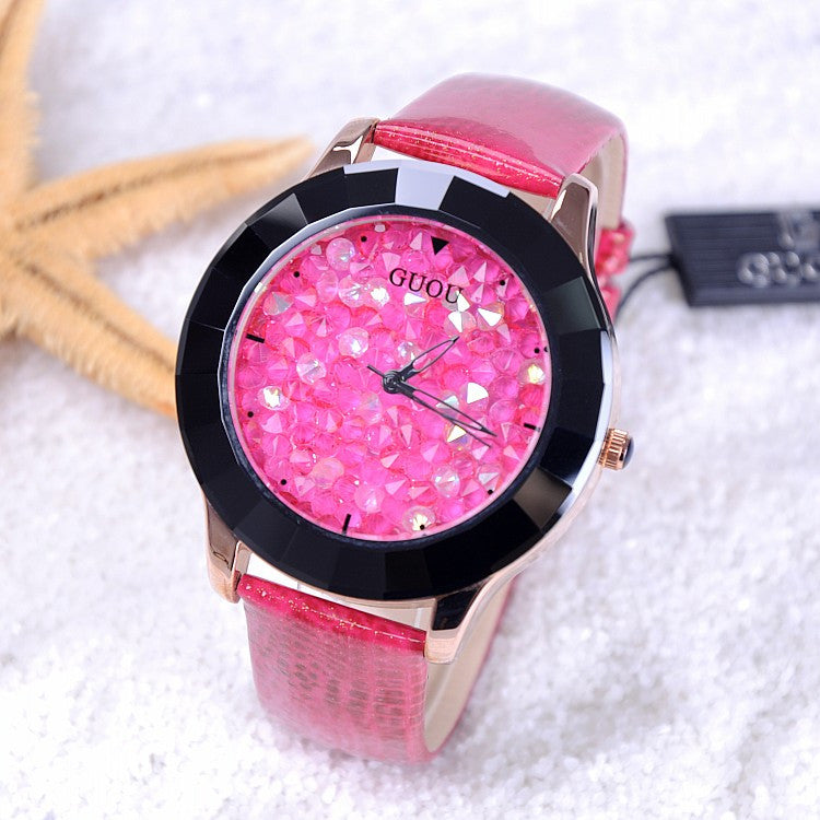 New Arrival Hongkong Brand Women Rhinestone Watches Austrian Crystal Ceramic Leather Band Women Dress Watches