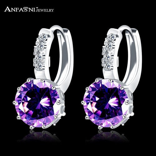 New Arrival Hoop Earrings Silver Color Inlay Cubic Zircon Fashion Women Wedding Earrings Jewelry