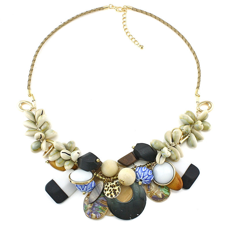 New Arrival Luxury ZA Shell Collar Necklaces & Pendants Fashion Women Jewelry Unique Acrylic Statement Necklace Accessories