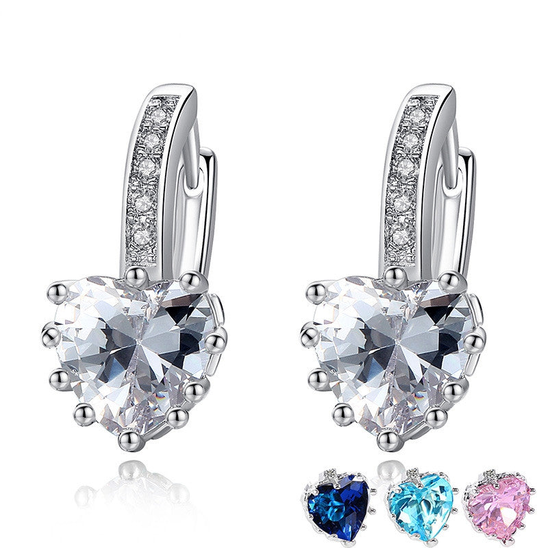 New Arrival Platinum Plated 4 Color Stones Heart Shape Trendy & Elegant AAA Zircon Stud Earring for Party Gift