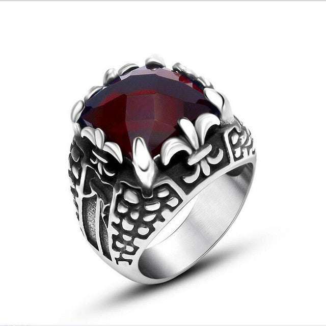 New Arrival Sales Fashion Ring For Men Punk Rock Heavy Solid Stainless Steel Gothic Mens Rings Red Stone Men's Ring Jewelry
