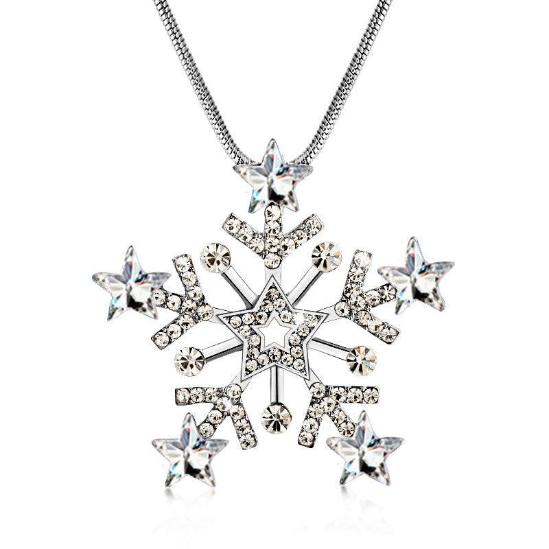 New Arrival Snowflake Necklaces Snake Chain Zinc Alloy Crystal Pendant Long Necklace Fashion Necklaces For Women Jewelry