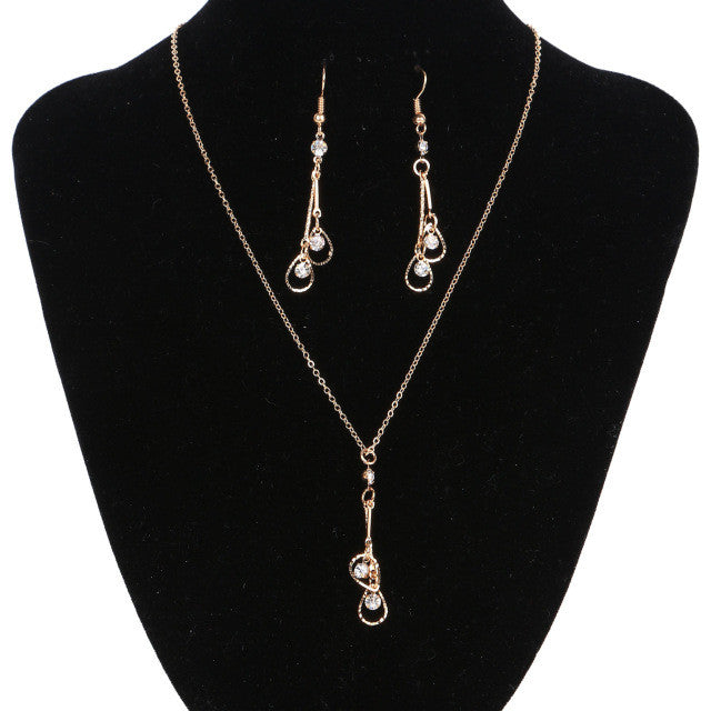 New Arrival Vintage Gold Jewelry Set Fashion Water Drop Earrings & Crystal Statement Necklace for Women Wedding Jewelry
